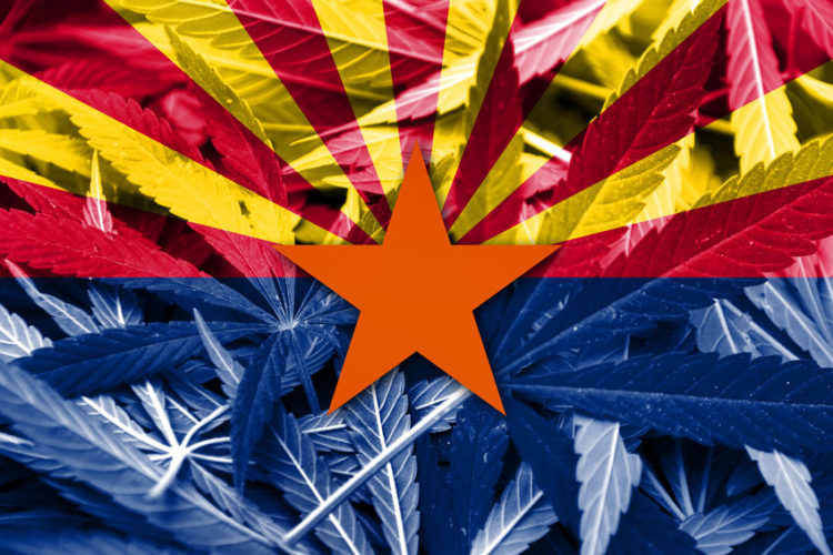Arizona Flag Cannabis Leaves